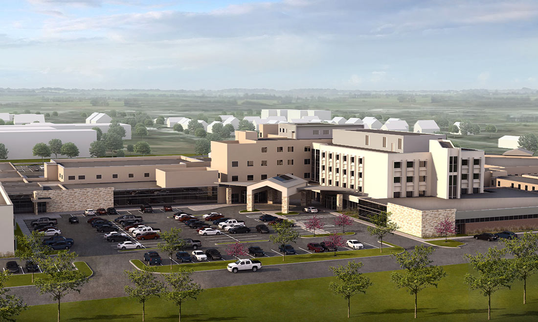 Shores Builders Aerial Hospital Rendering