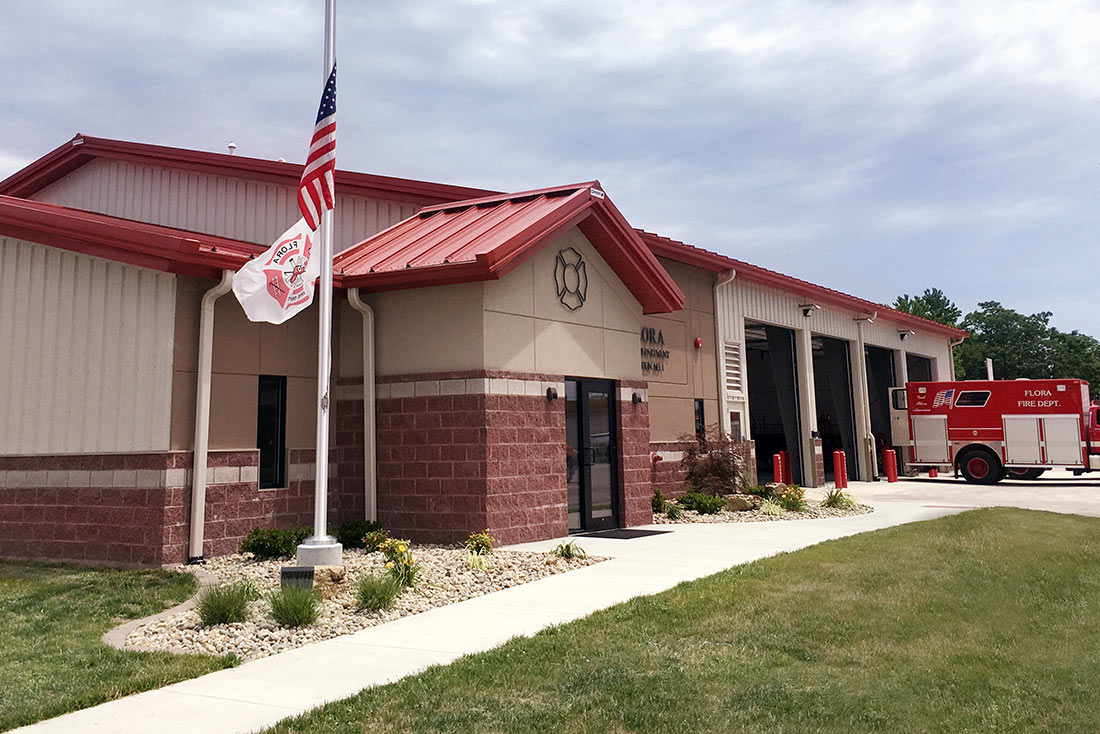 View of the entrance of the Flora Fire Department
