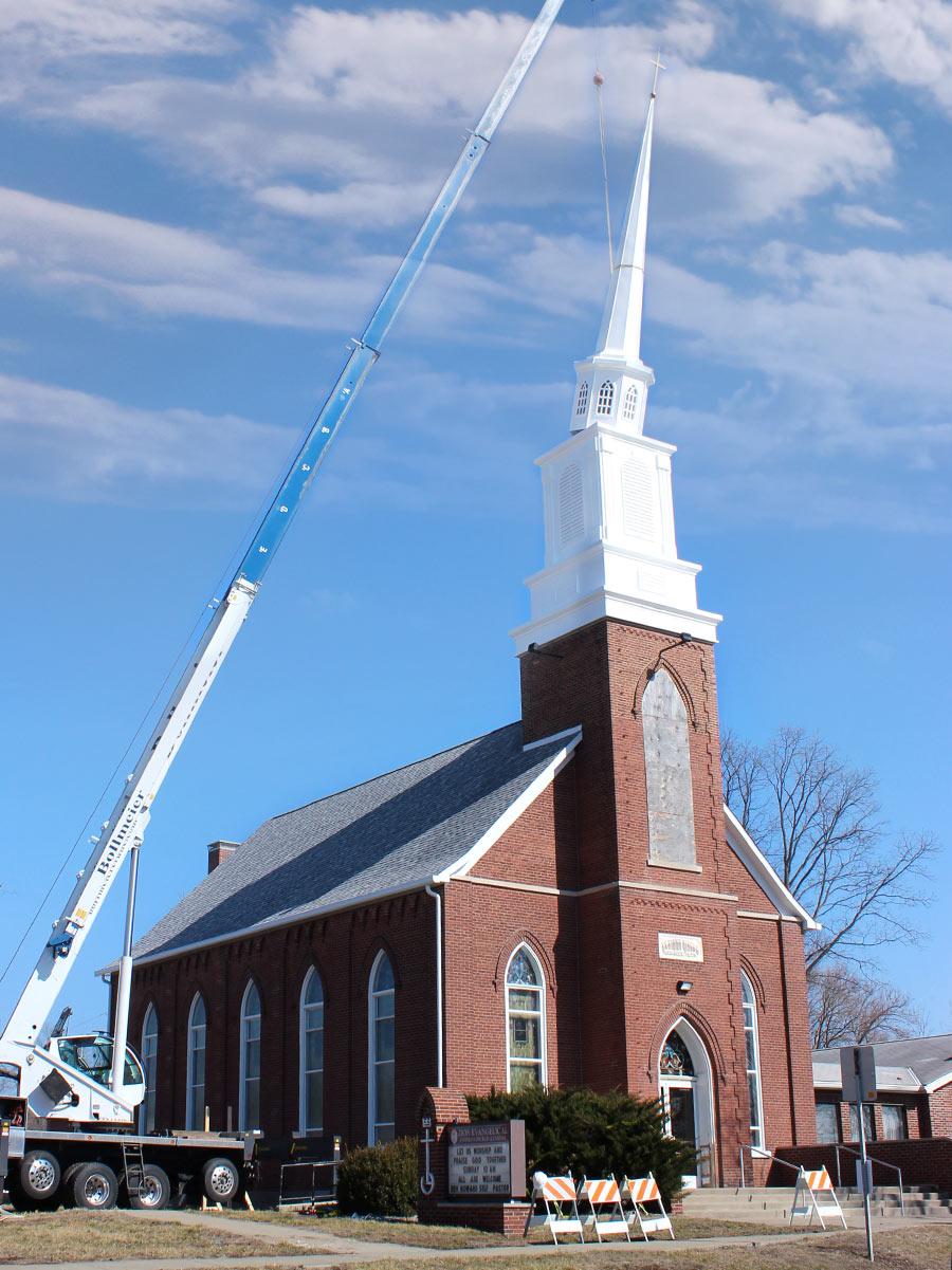 Steeple being placed on Hoyleton Zion Evangelical United Church Of Christ in Mt. Vernon, Illinois
