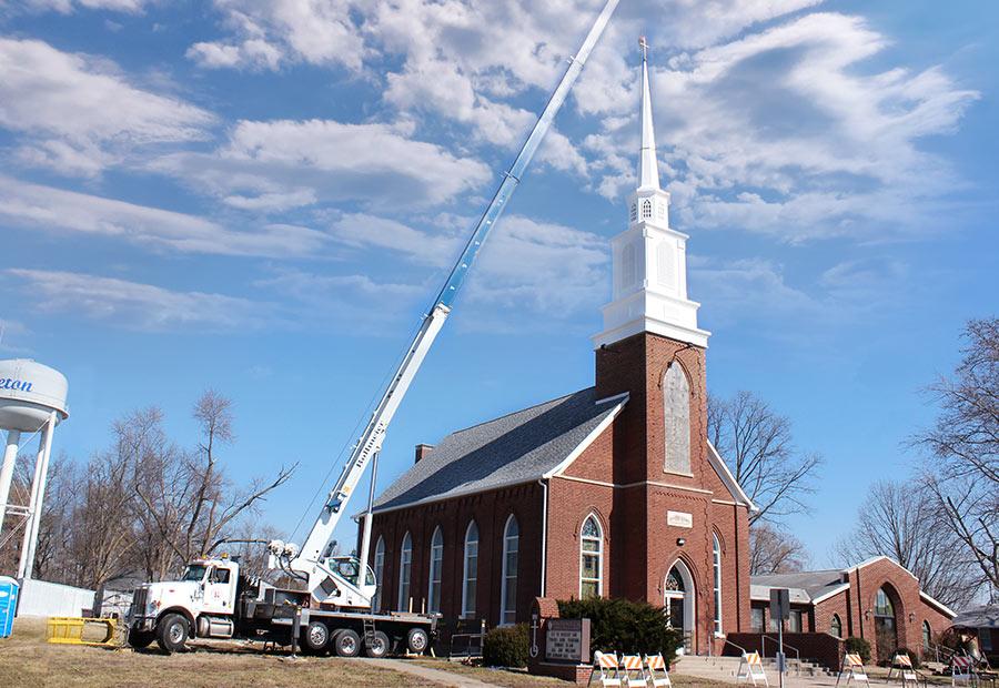 Crane above Steeple on Hoyleton Zion Evangelical United Church Of Christ in Mt. Vernon, Illinois