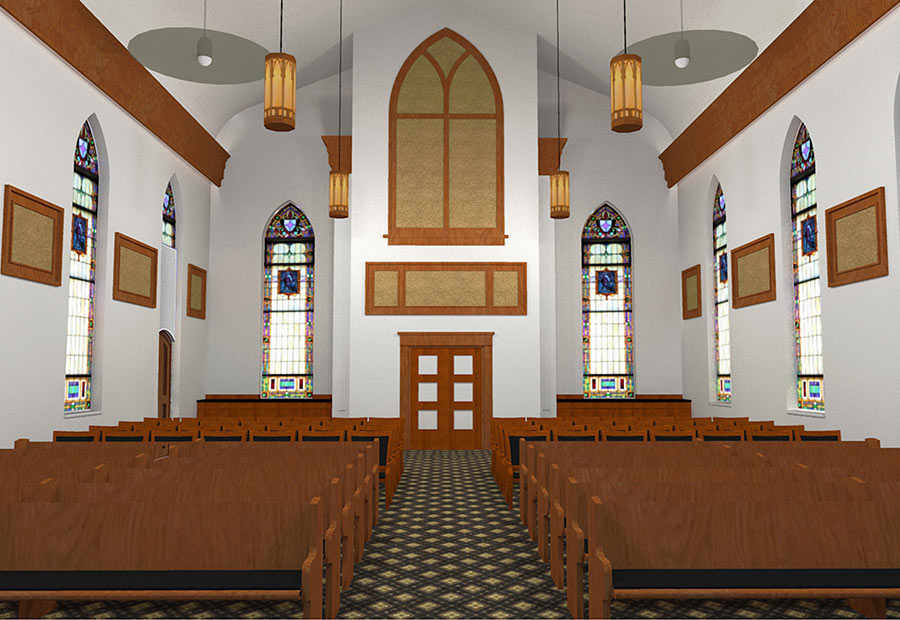 Interior shot of the main aisle in the Hoyleton Zion Evangelical United Church Of Christ in Mt. Vernon, Illinois