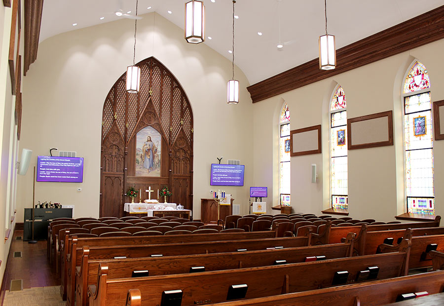 Interior view from the left side of the Hoyleton Zion Evangelical United Church Of Christ in Mt. Vernon, Illinois