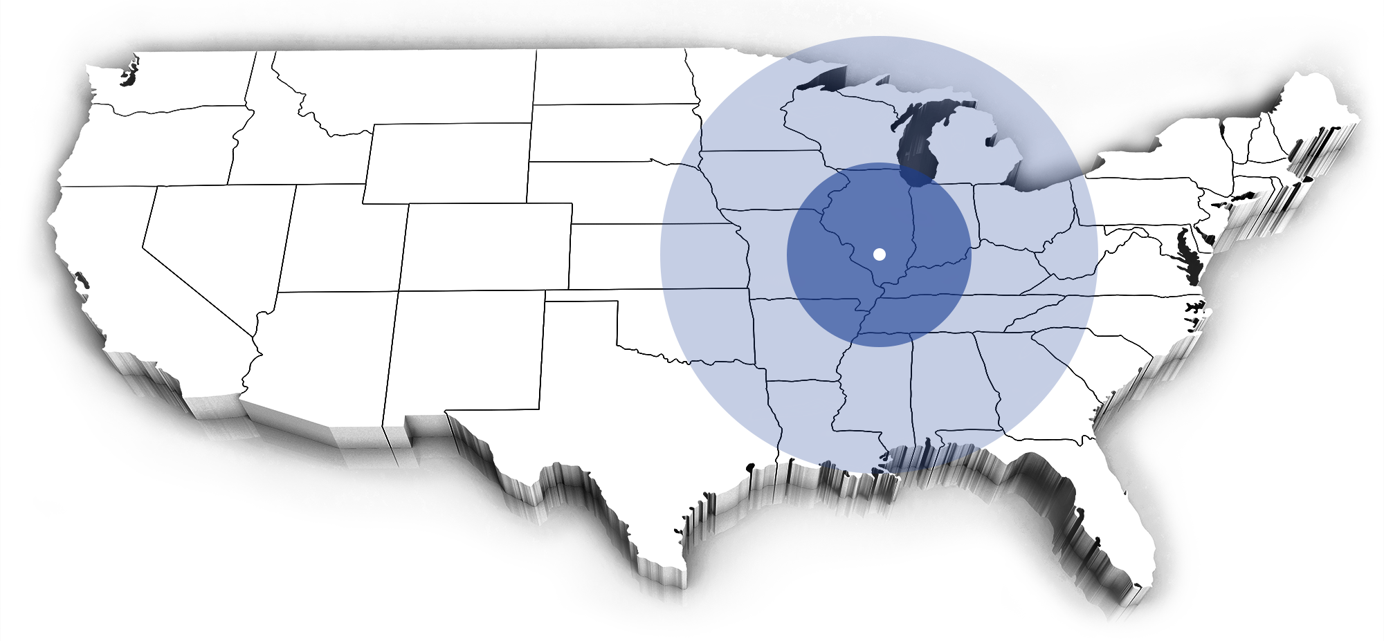 Extruded view of the United States Illustrating the Geographical Reach of Shores Builders